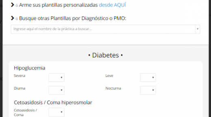 Pantalla diabetes